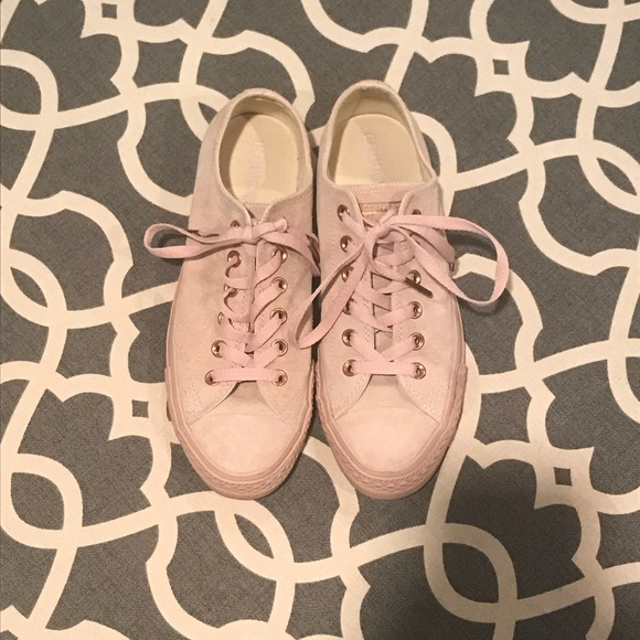 b7e0e2db42a Converse Shoes - Pink Suede Converse w  Rose Gold detail- Worn Once